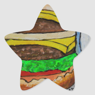 Double Cheeseburger Star Sticker