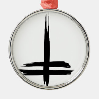 Double cross Silver-Colored round ornament