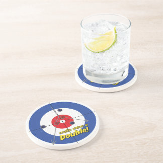 """Double"" Curler's  Sandstone Coaster - (Blue)"