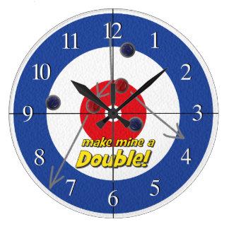 """Double"" Curling Bar Clock - (Blue)"