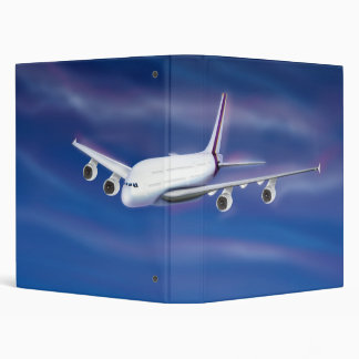 Double Decker Commercial Airplane Vinyl Binder