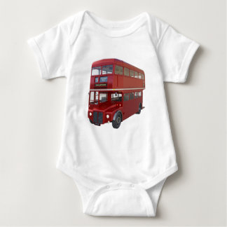 Double Decker Red Bus in Front Profile Baby Bodysuit