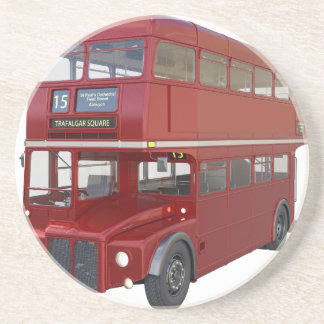 Double Decker Red Bus in Front Profile Coaster