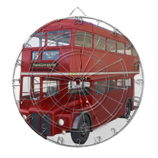 Double Decker Red Bus in Front Profile Dartboard