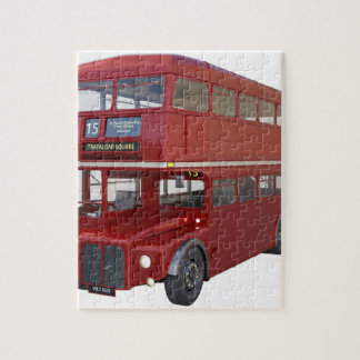 Double Decker Red Bus in Front Profile Jigsaw Puzzle
