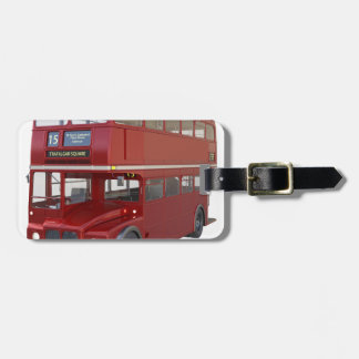 Double Decker Red Bus in Front Profile Luggage Tag