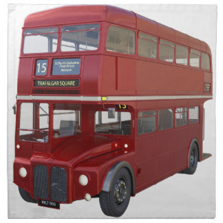 Double Decker Red Bus in Front Profile Napkin