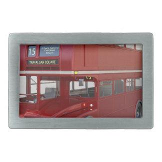 Double Decker Red Bus in Front Profile Rectangular Belt Buckles