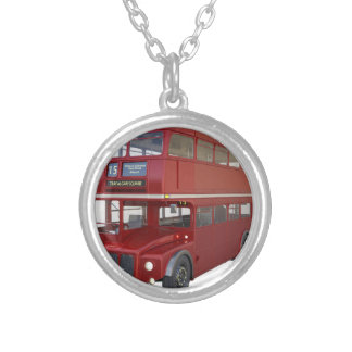 Double Decker Red Bus in Front Profile Silver Plated Necklace