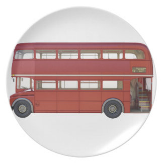 Double Decker Red Bus Plate