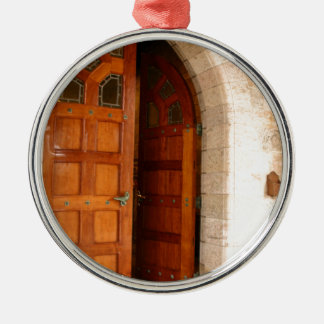 Double Door Silver-Colored Round Ornament