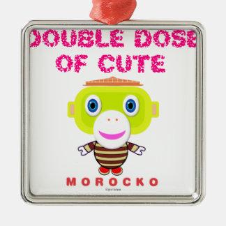 Double Dose Of Cute-Cute Monkey-Morocko Metal Ornament