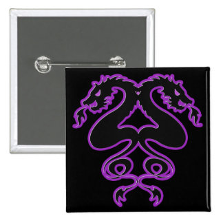 Double Dragons 2 Inch Square Button
