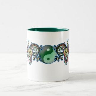 Double Dragons with YinYang Ball Two-Tone Coffee Mug