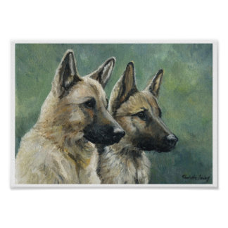 """Double Duty"" German Shepherd Print of Oil Paintin"