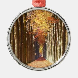 Double European Beech Alley Domaine de Mariemont Silver-Colored Round Ornament