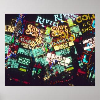 Double exposure, casino signs, Las Vegas, Poster