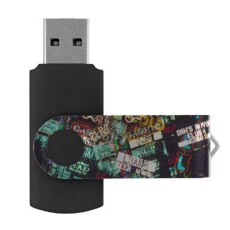 Double exposure, casino signs, Las Vegas, Swivel USB 2.0 Flash Drive