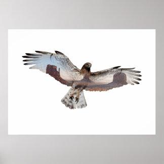 Double Exposure Hawk Poster