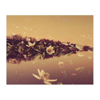 Double Exposure Landscape Flowers Wood Wall Art