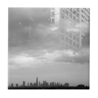 double exposure NYC skyline and buildings Ceramic Tile