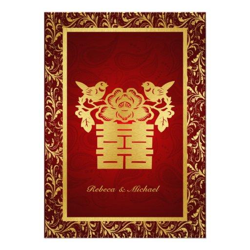 Double faire-part de mariage chinois de bonheur