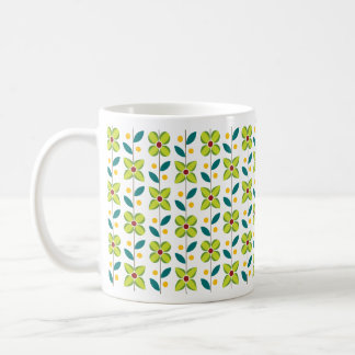 Double Flower Pattern Green Coffee Mug