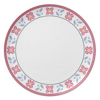 Double Flower Pattern Pink Plate