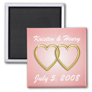 Double Gold Hearts Magnet