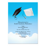 "Double Graduation Hat Toss Vertical 5"" X 7"" Invitation Card"