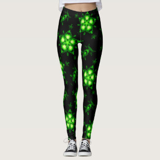 double green stars witchy black leggings