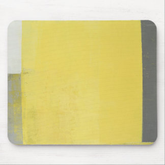 'Double' Grey and Yellow Abstract Art Mouse Pad