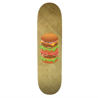 Double hamburger with cheese and bacon skateboard