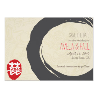 Double Happiness Chinese Wedding - Save the Date Card