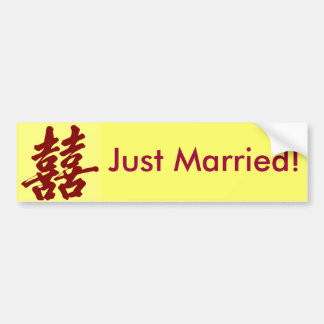 Double Happiness, Just Married! Bumper Sticker