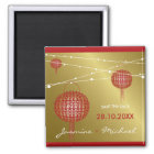 Double Happiness Lanterns Chinese Wedding Magnet