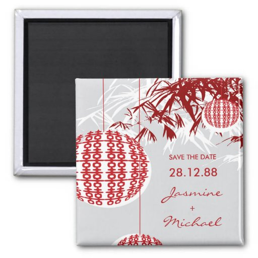 Double Happiness Lanterns Save The Date Magnet