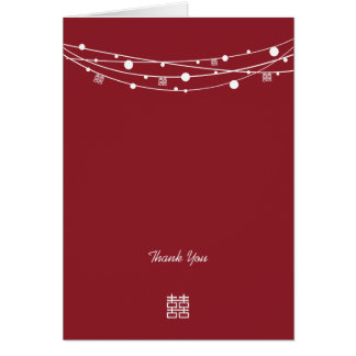 Double Happiness Lanterns Wedding Thank You Cards