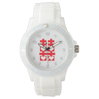 Double Happiness Love Heart Number White Watch