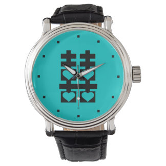 Double Happiness Love Heart Teal Watch