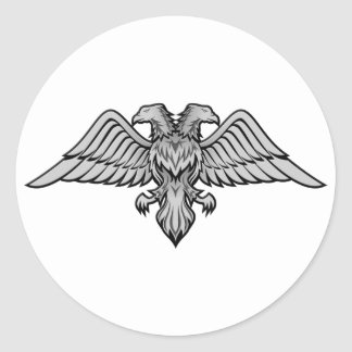 Double headed eagle round sticker