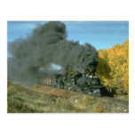 Double-headed freight leaves Chama in the fall Postcard