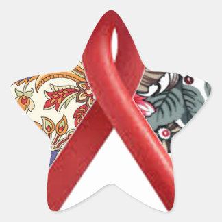 double heart batik art star stickers