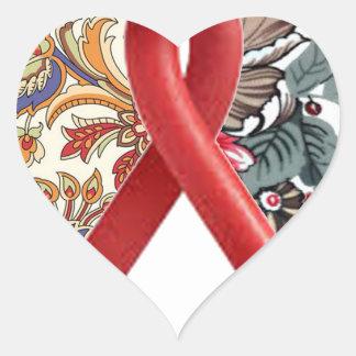 double heart batik art heart sticker