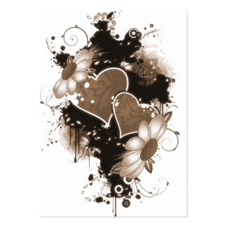 Double Hearts & Flowers - Sepia Brown Large Business Card