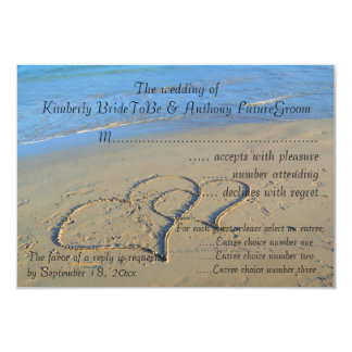 Double Hearts in Sand Wedding RSVP Card