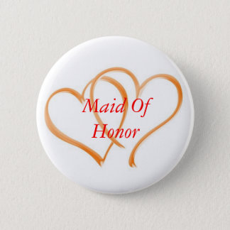 Double Hearts Maid of Honor 2 Inch Round Button