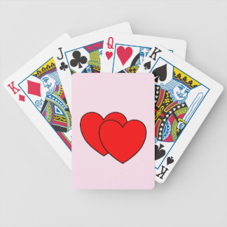 Double Hearts Pink Bicycle Playing Cards