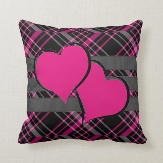 Double Hearts & Pink Plaids Throw Pillow