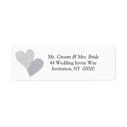 Double Hearts Return Address Label Stickers